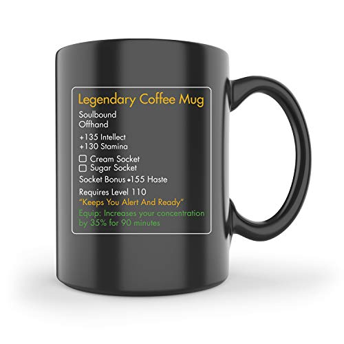 MMO Mug – Legendary Coffee Mug Level 110 – Large Ceramic Black Coffee Mug 15oz – Gaming, Gamer Cup
