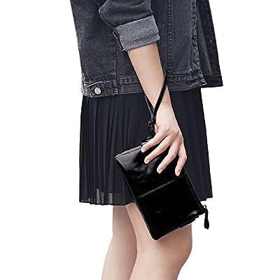 Jack&Chris Women's Small Leather Wristlet wallet Clutch Handbag Shoulder Bag Purse, WBGT045