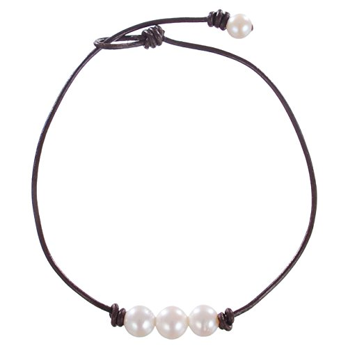 Areke Cultured Freshwater Pearl Choker Necklaces for Women - 3 Beads On Leather Cord Handmade Jewelry Style Brown