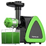 Homever Low Speed Masticating Juicer Extractor, BPA Free Cold Press Juicer, Quiet Motor, with Cleaning Brush, Bigger Container, High Nutrient Juice Reducing Oxidation (Green)