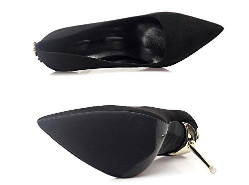 Aguja Arcos Metallic Nvxie 38 Alto 34 Zapatos Discotecas De Tacón Negro Sexy Mujer qwz8Z