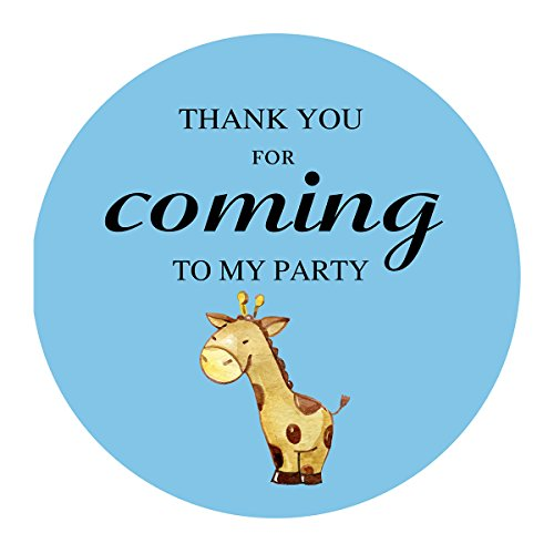 MAGJUCHE Blue Giraffe Thank You Stickers, Jungle Safari Boy Baby Shower Birthday Party Favors Labels, 2 Inch, 40-Pack