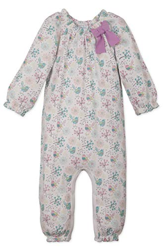 Feather Baby Girls Clothes Pima Cotton Long Sleeve Bow One Piece Jumpsuit Romper (9-12 Months, Regal Bird on White) ()