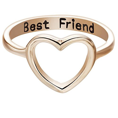 OldSch001 Friendship Rings,Fashion Letter Best Friends Ring Simple Hollow Heart Ring (Gold, 10)