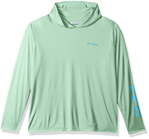 Blue Big Logo Hoodie - Columbia Men's Terminal Tackle Big Hoodie, Kelp/Harbor Blue Logo, 3X