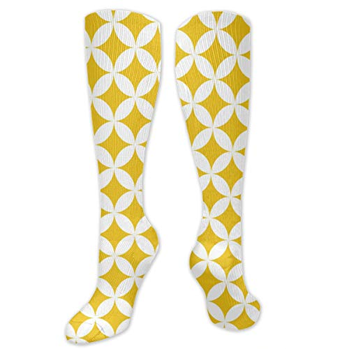 Yellow and White Texture Polyester Cotton Over Knee Leg High Socks Vintage Unisex Thigh Stockings Cosplay Boot Long Tube Socks for Sports Gym Yoga Hiking Cycling Running Nurses ()