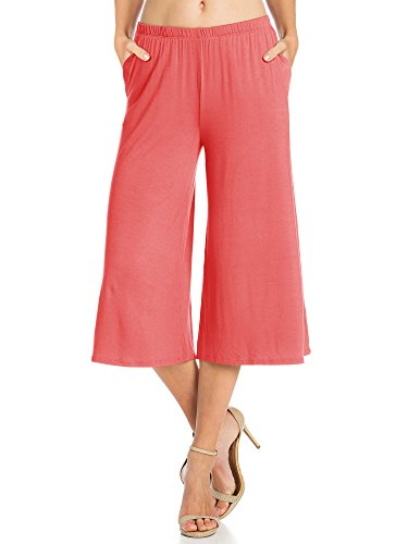 (Fashion California Womens 1 Pack Elastic Waist Jersey Culottes Capri Pocket Pants (X-Large, Coral))