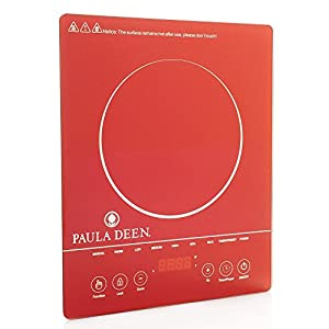 Paula Deen 1500W Patterned Glass Programmable Induction Cooker Solid Red
