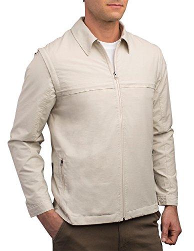SCOTTeVEST Jacket - Travel Clothing for Men, Convertible Tactical Jacket & Vest (BGE XL) Beige