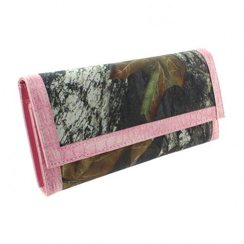 Mossy Oak Licensed Camouflage Camo Women Trifold Wallet Pink Trim - Mossy Oak Tri Fold Wallet