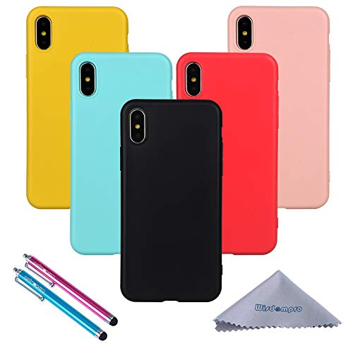 iPhone X Case, Wisdompro Bundle of 5 Pack Extra Thin Slim Jelly Soft TPU Gel Protective Case Cover for Apple iPhone X / 10 (Black, Aqua Blue, Naked Skin Pink, Yellow, Red)- Candy Color