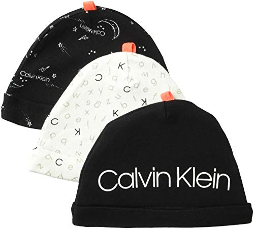 Calvin Klein Baby 3PK Hats, signature Alphabet pack, One Size Fits All