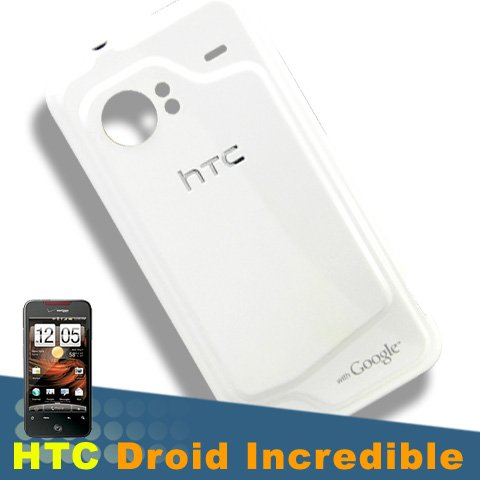 Original HTC Droid Incredible Adr6300 OEM White Housing Case Back Battery Door Cover (Htc Battery Door)