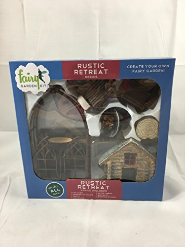 Rustic Retreat fairy garden kit (12 pc) (Adirondack Cabin Kit)