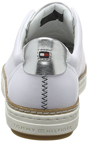 Leather Sneakers 100 Hilfiger Sneaker Blanc Femme white Basses City Tommy 4wIRqW