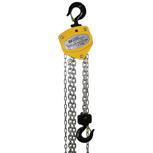 OZ Lifting Manual Chain Hoist w/Std. Overload Protection 1-20' Lift, 1/2 Ton (1/2 Ton Quick Lift)
