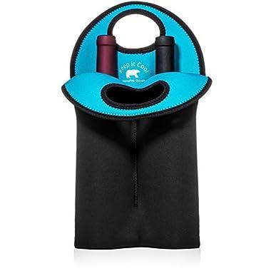 BYOB Wine Carrier Tote - Two Bottle Insulated Neoprene Wine Bottle Holder for Travel