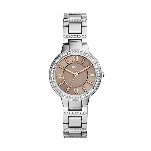 Fossil Women's Virginia Quartz Stainless Steel Dress Watch, Color: Silver-Tone (Model: (Fossil Womens Crystal Watch)