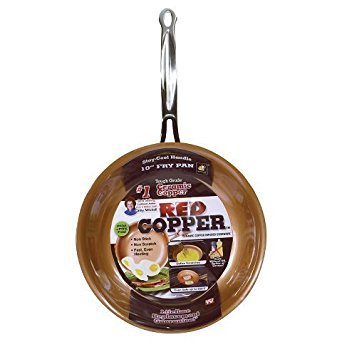 "New As Seen On TV Copper 10"" Frying Pan - Red"
