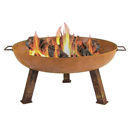 Sunnydaze Outdoor Small Fire Pit Bowl, Rustic Cast Iron, Wood Burning, 30 Inch – for Patio, Backyard, or Camping