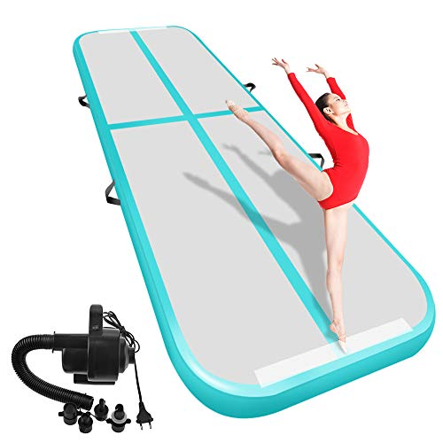 Airacker Air Track, Tumbling Mat, Inflatable Gymnastics Airtrack Mat, Air Floor Mat with Electric Air Pump for Practice Gymnastics,Cheerleading,Tumbling,Parkour (Teal, 29.53x3.28x0.33ft)