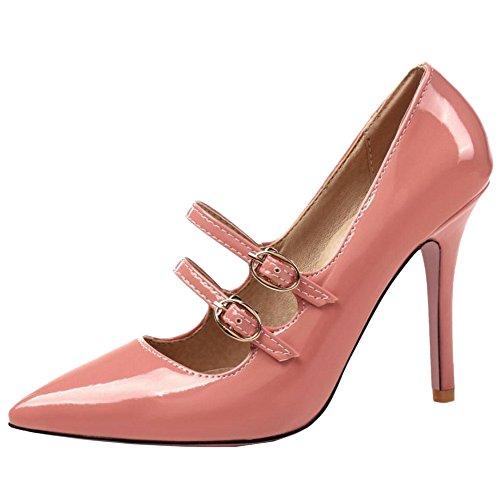TAOFFEN Women Fashion Pumps Pointed Toe Pink 5nDQlmEKu