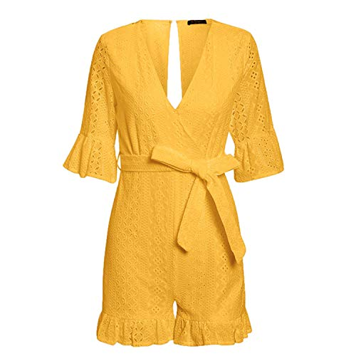 (Women Rompers lace Jumpsuit Ruffled Hollow Out Embroidery Sexy v-Neck Jumpsuit Playsuit Elegant,S)