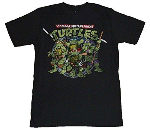Teenage Mutant Ninja Turtles Distressed Group Adult T-Shirt -Black (XXX-Large) (Ninja Turtle Sai)