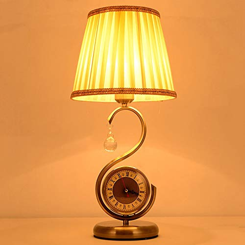 - AXWT Table Lamp Bedroom Bedside Lamp Creative Personality Simple Retro Band Clock Button Switch Gift Table Light Desk Lamp (Color : B)