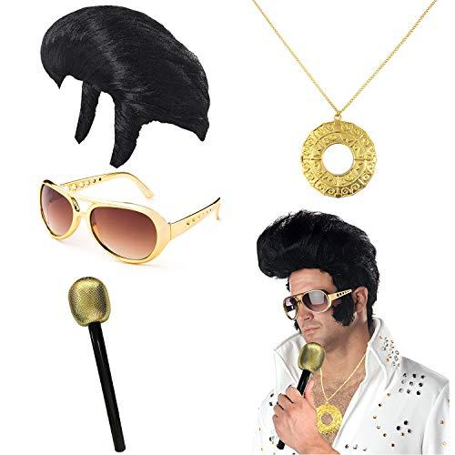 (UIMLK Elvis Rockstar Costume Accessories - Elvis Wig and Glasses for Adults,Disco Medallion,Glitter Microphone,Glod)