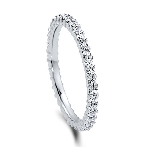 BERRICLE Rhodium Plated Sterling Silver Cubic Zirconia CZ Wedding Eternity Band Ring Size 4.5