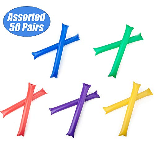 GOGO Bam Bam Thunder Sticks Cheerleading Outfit Inflatable Noisemakers Blow Bar Party Favors Assorted 50 Pairs ()