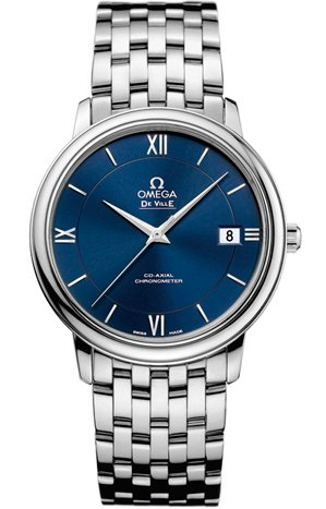 Omega De Ville Prestige Blue Dial Stainless Steel Ladies Watch 42410372003001