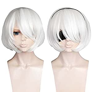 Cfalaicos Short White Costume Hair -- NieR:Automata 2B Cosplay Wig