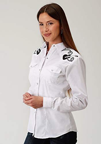 (ROPER Womens White Cotton Blend Tonal Horseshoes L/S Shirt M )