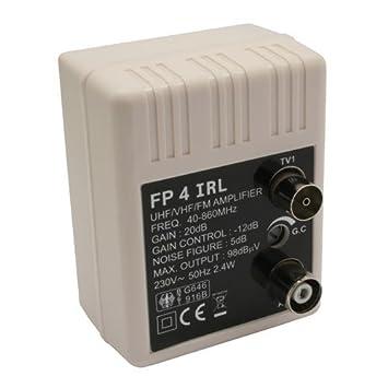 Transmedia FP4iRL - Amplificador para antena (47-862 MHz, 20 dB, regulable 0-10 dB): Amazon.es: Electrónica