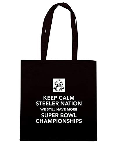 Borsa Shopper Nera TKC3080 KEEP CALM STEELER NATION WE STILL HAVE MORE SUPER BOWL CHAMPIONSHIPS