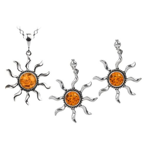 Sterling Silver Amber Blazing Sun Jewelry Set Earrings Necklace Chain 22 Inches