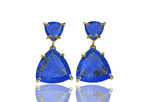 Gold lapis earrings,Lapis lazuli earrings,gold earrings,solid gold earrings,triangle earrings,gemstone earrings by Anemone Jewelry