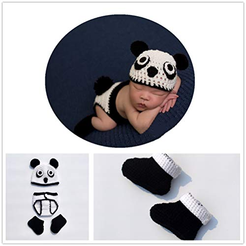 Fashion Newborn Baby Photography Prop Handmade Crochet Unicorn Outfit with Infant Hat Pants (Kungfu Panda)