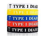MPRAINBOW 5 Pcs Silicone Rubber Type 1 Diabetes Medical Alert ID Wristband Emergency Bracelet,5 Colors