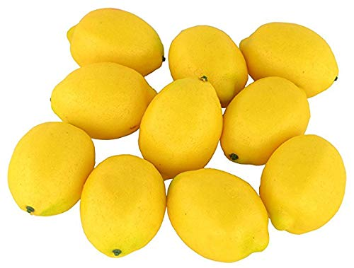 SENREAL 10 pcs Artificial Lemon Fake Lemon Lifelike Fruit Decorative Home Kitchen Party Pub Cabinet Ornament - Yellow