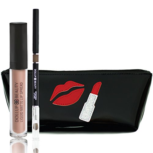 Dollup Beauty Matte Lip Liner and Lipstick Set - Includes 3 Items Liquid Matte Lipstick & Smoothing Lip Liner w/ Handcrafted Silhouette Cosmetic Bag (Spread Peace With Kisses)