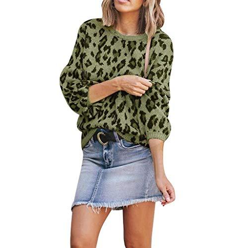 Para Top Manga Sudadera Leopardo Verde Camiseta Mujer Larga Luckycat De Estampado Y Con Mujer BPqW8X