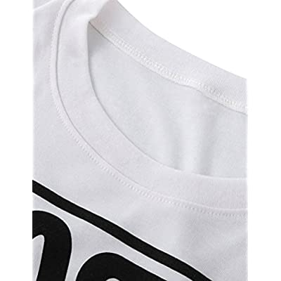 Ezcosplay Crew Neck Long Sleeve Letter Printed Shirt Graphic Tee Tops for Women: Clothing