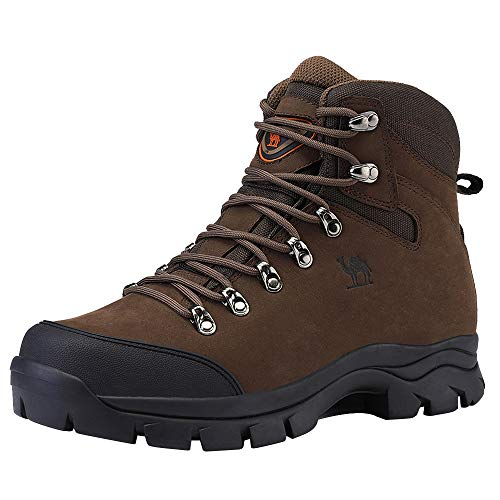 CAMEL CROWN Mens Hiking Boots Outdoor Trekking Backpacking Boot Mid Hiker Boot for Men Coffee/Black