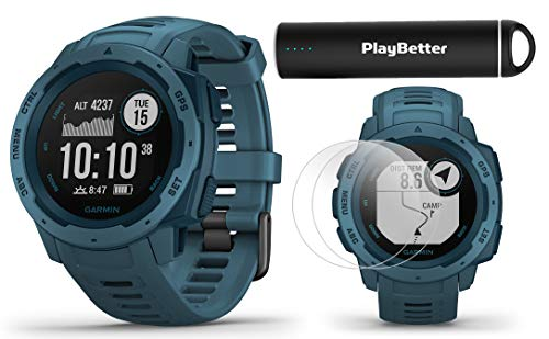 Garmin Instinct (Lakeside Blue) Outdoor GPS Watch Power Bundle | with HD Screen Protector Film Pack & PlayBetter Portable Charger | Rugged, Waterproof | Heart Rate, TrackBack | Ultimate Outdoorsman ()