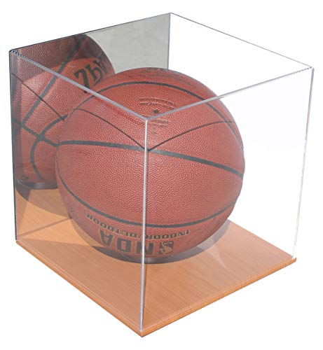(Basketball Soccer Bowling Ball Display Case Stand Storage Box, UV Protectioin (Mirrored, with Wood Floor) )