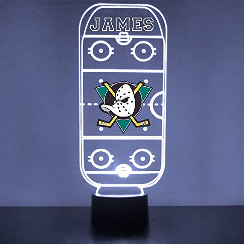Anaheim Handmade Acrylic Personalized Ducks Hockey Rink LED Night Light - Remote, 16 Color Option, Great Personalized Gift, Engraved