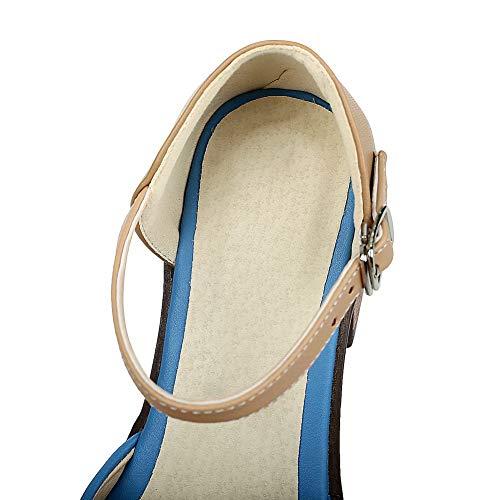 Couleurs Sandales À Femme Aalardom Bleu Talon Correct Mélangées Boucle Tsflh007638 F1B6WXqxwW
